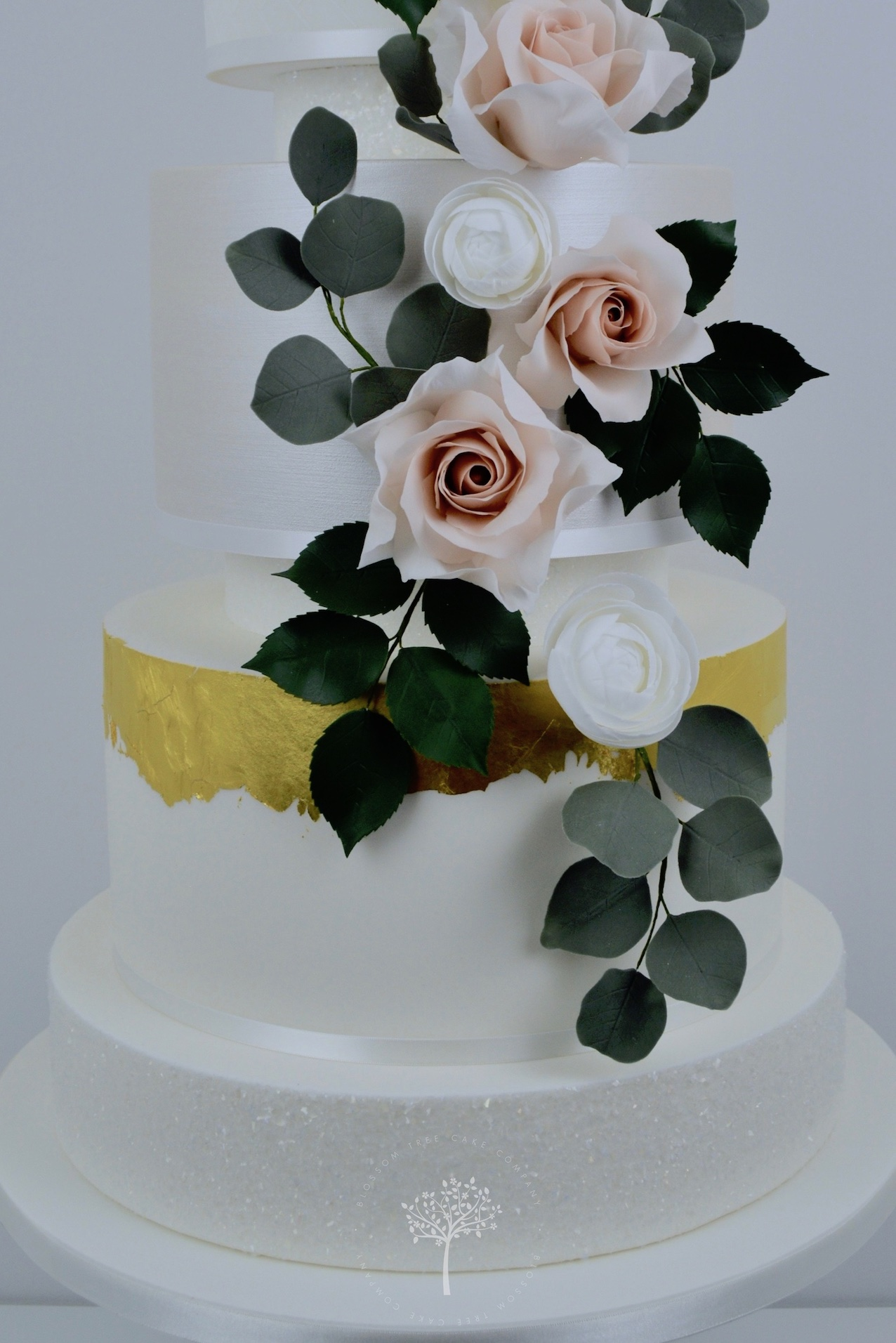 Rose & Ranunculus Cascade wedding cake by Blossom Tree Cake Company Harrogate North Yorkshire - sugar roses and ranunculus.jpg