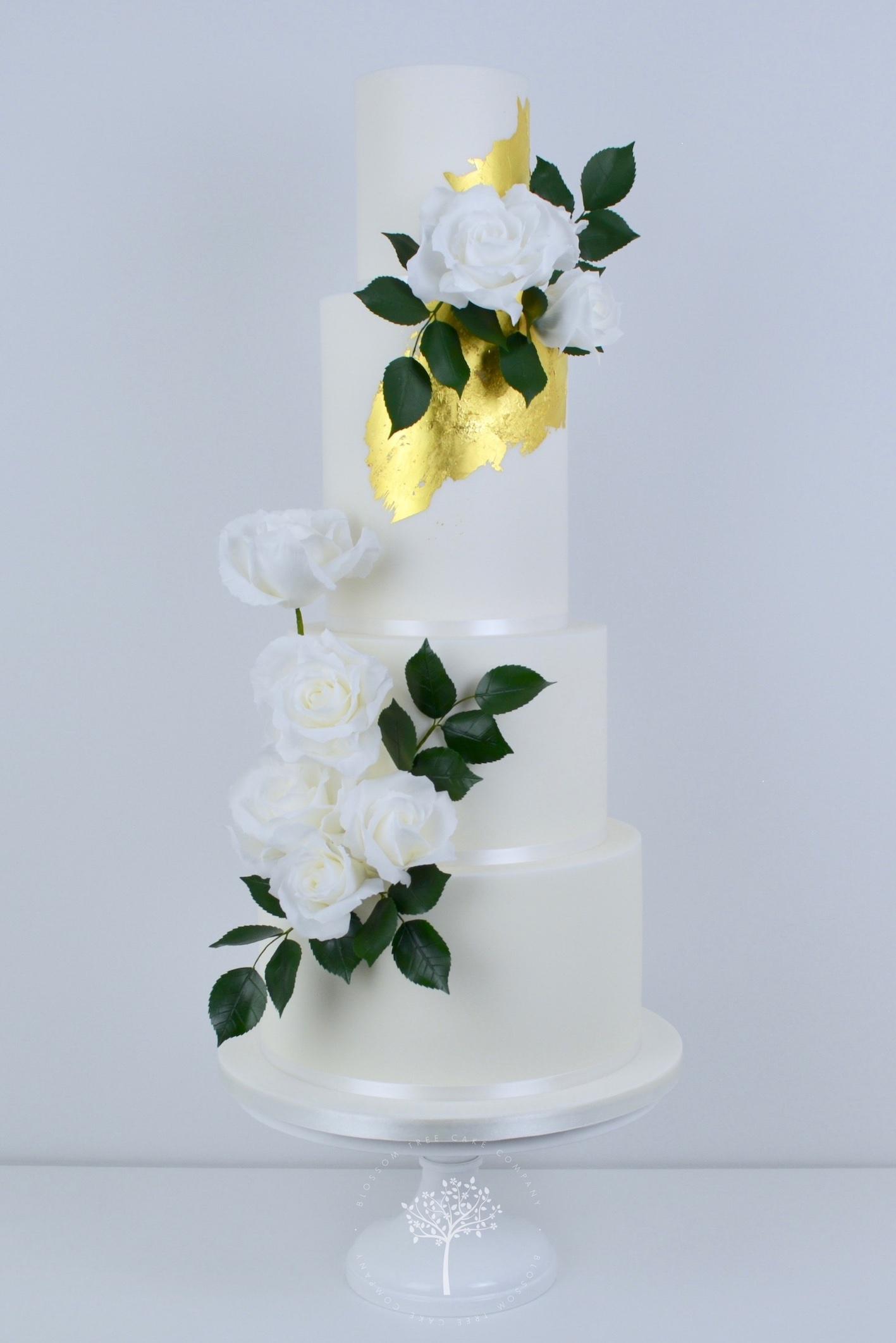 White Roses Wedding Cake by Blossom Tree Cake Company Harrogate North Yorkshire.jpg
