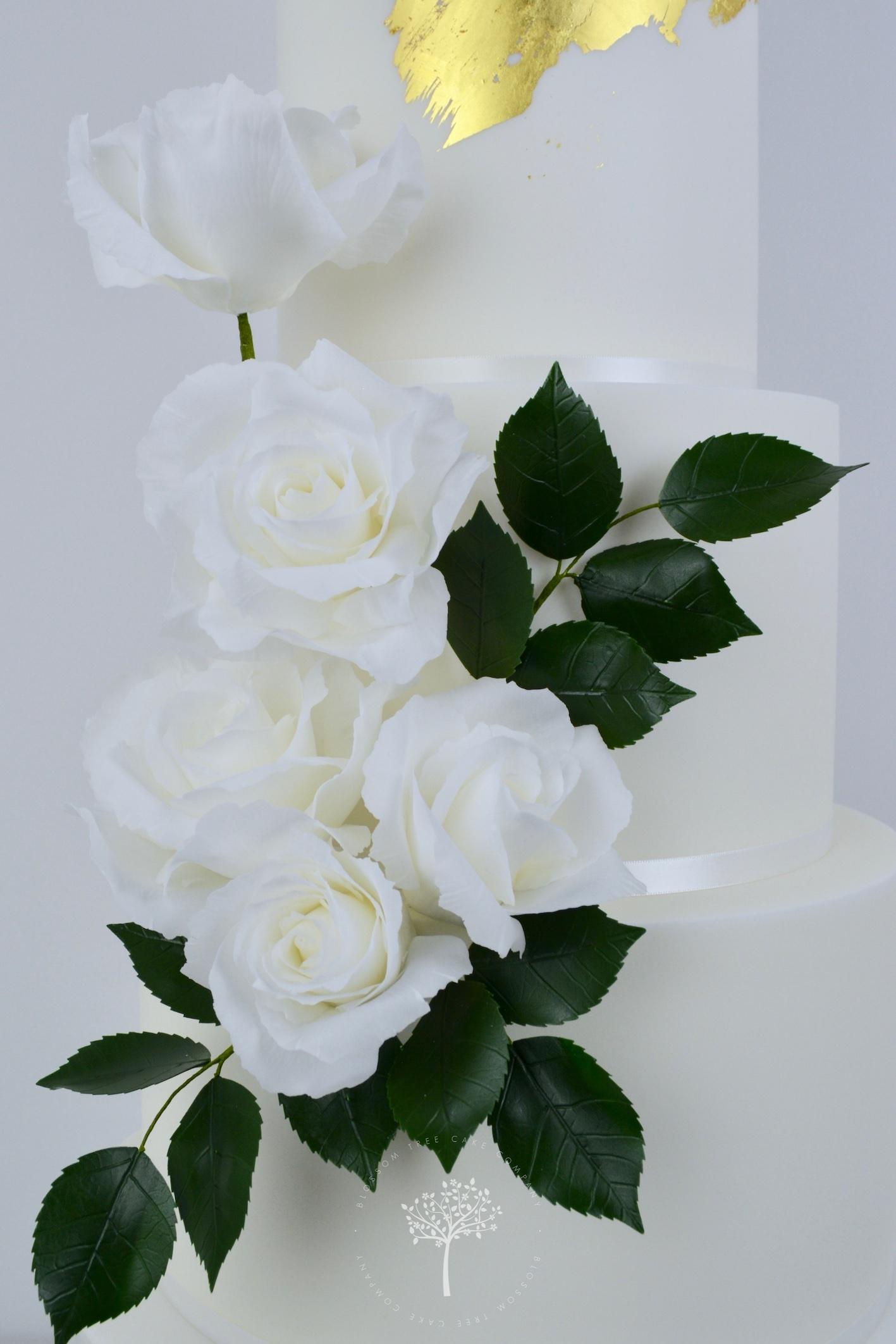 White Roses Wedding Cake by Blossom Tree Cake Company Harrogate North Yorkshire - sugar roses.jpg