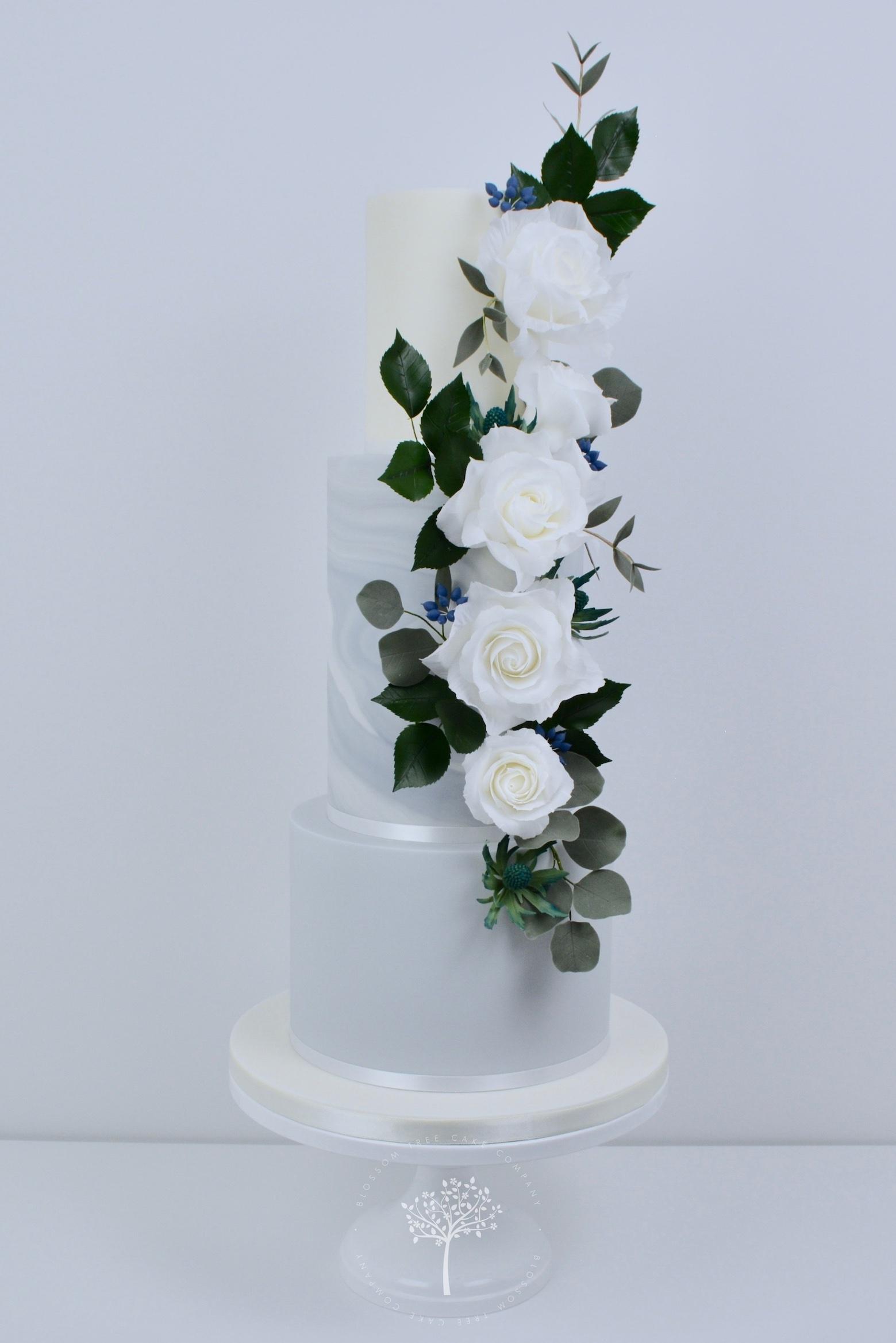 White Roses Cascade wedding cake by Blossom Tree Cake Company Harrogate North Yorkshire.jpg