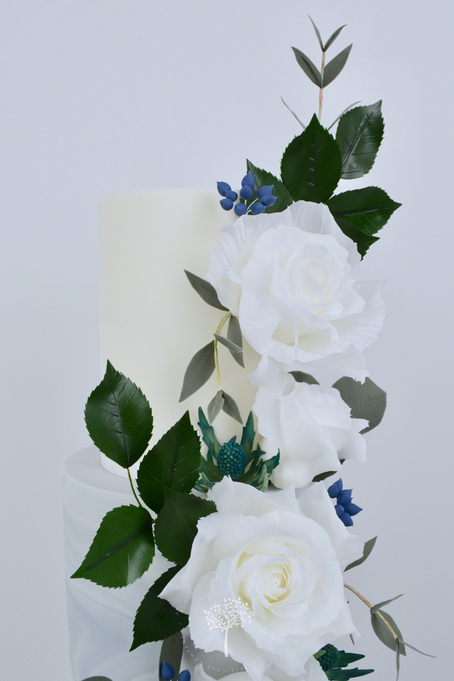 White Roses Cascade wedding cake by Blossom Tree Cake Company Harrogate North Yorkshire - top sugar flowers.jpg