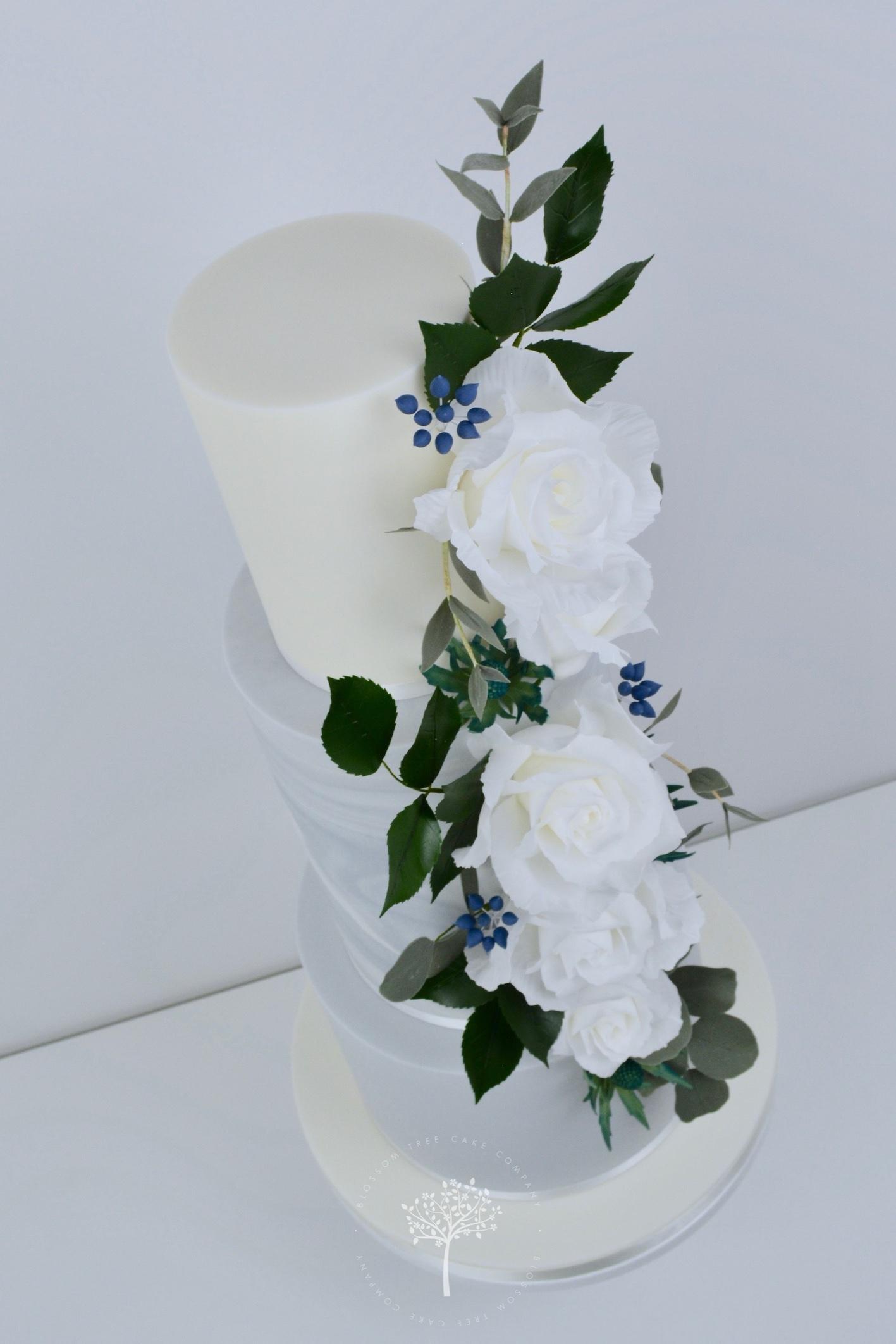 White Roses Cascade wedding cake by Blossom Tree Cake Company Harrogate North Yorkshire - angle.jpg