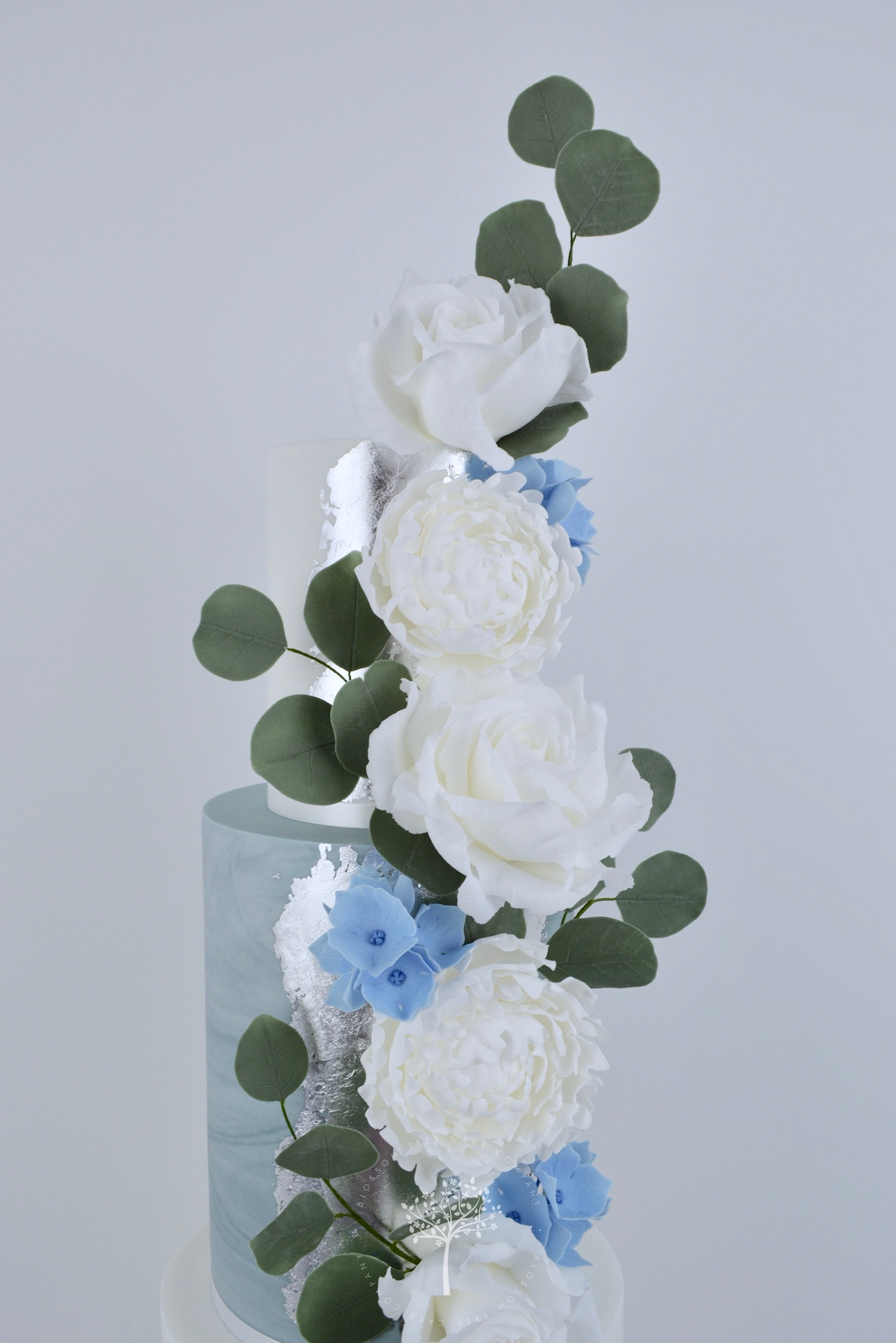 Peonies & Roses wedding cake by Blossom Tree Cake Company Harrogate North Yorkshire - top sugar flowers.jpg