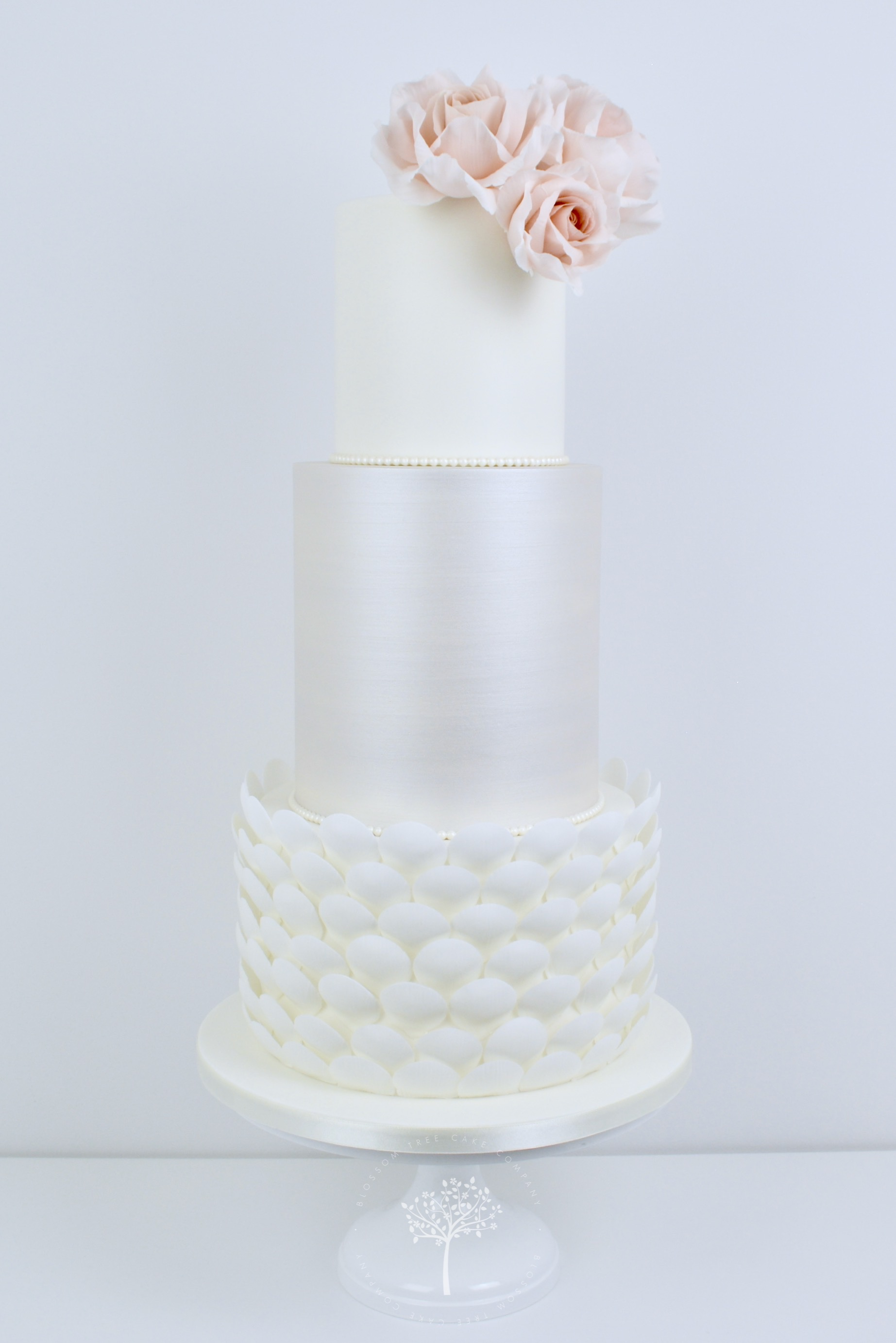 Pearlescent and Blush Petal Shells wedding cake by Blossom Tree Cake Company Harrogate North Yorkshire.jpg