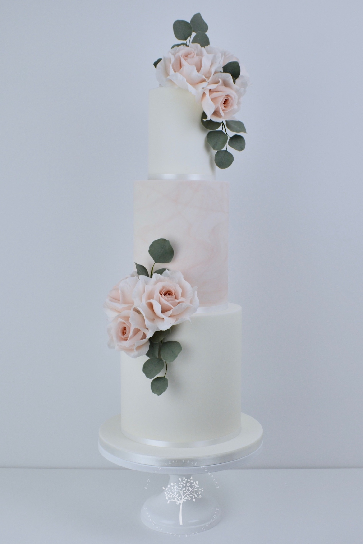 Dusky Pink Marble with Roses wedding cake by Blossom Tree Cake Company Harrogate North Yorkshire.jpg