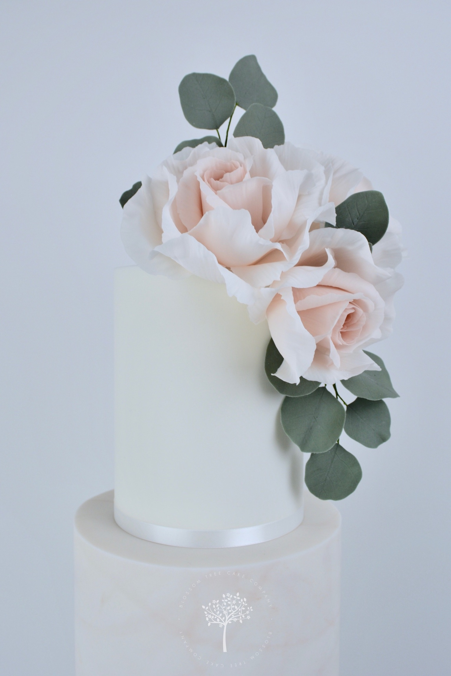 Dusky Pink Marble with Roses wedding cake by Blossom Tree Cake Company Harrogate North Yorkshire - top sugar roses.jpg