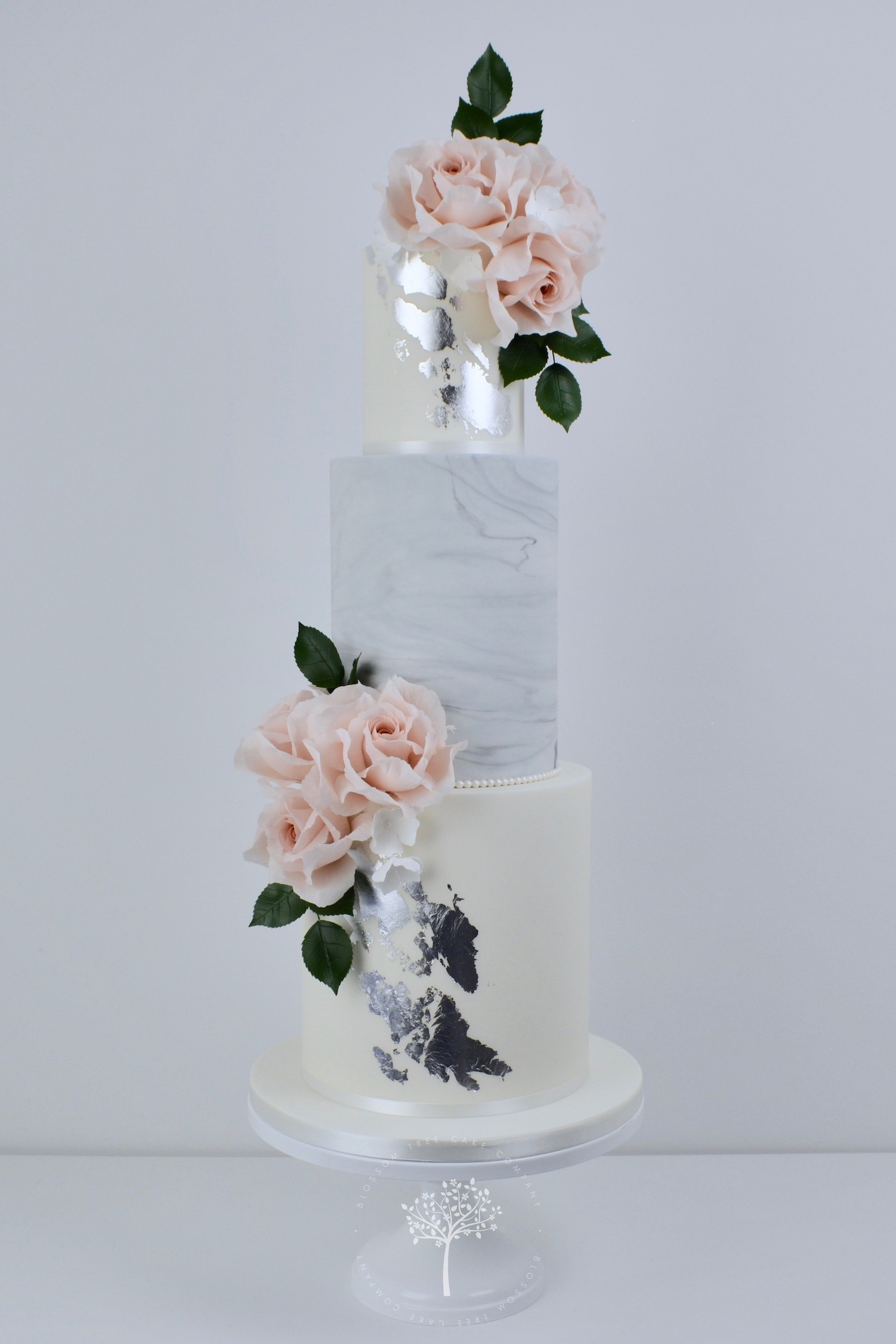 Blush Roses & Silver wedding cake by Blossom Tree Cake Company Harrogate North Yorkshire.jpg