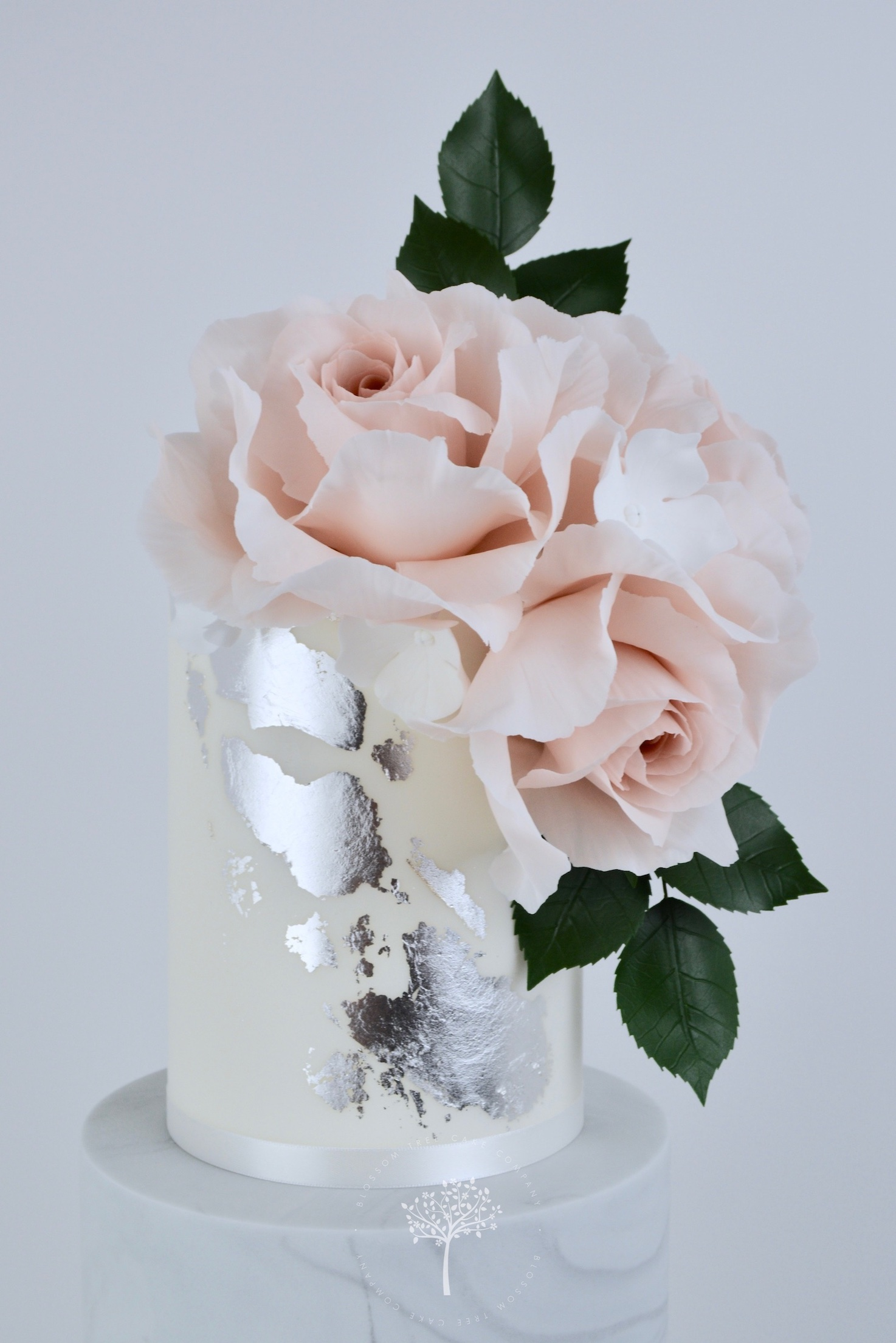 Blush Roses & Silver wedding cake by Blossom Tree Cake Company Harrogate North Yorkshire - top sugar roses.jpg