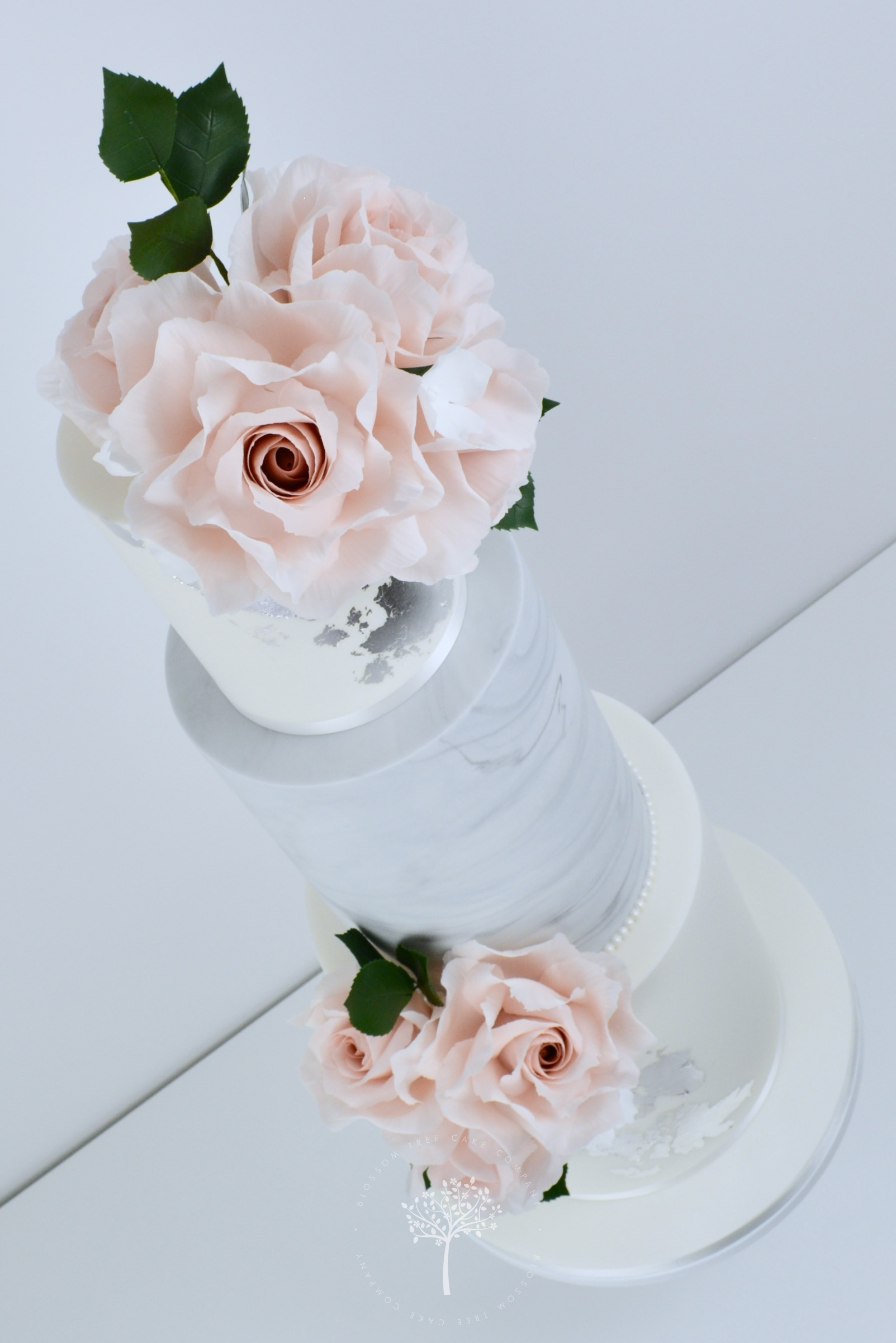 Blush Roses & Silver wedding cake by Blossom Tree Cake Company Harrogate North Yorkshire - angle.jpg