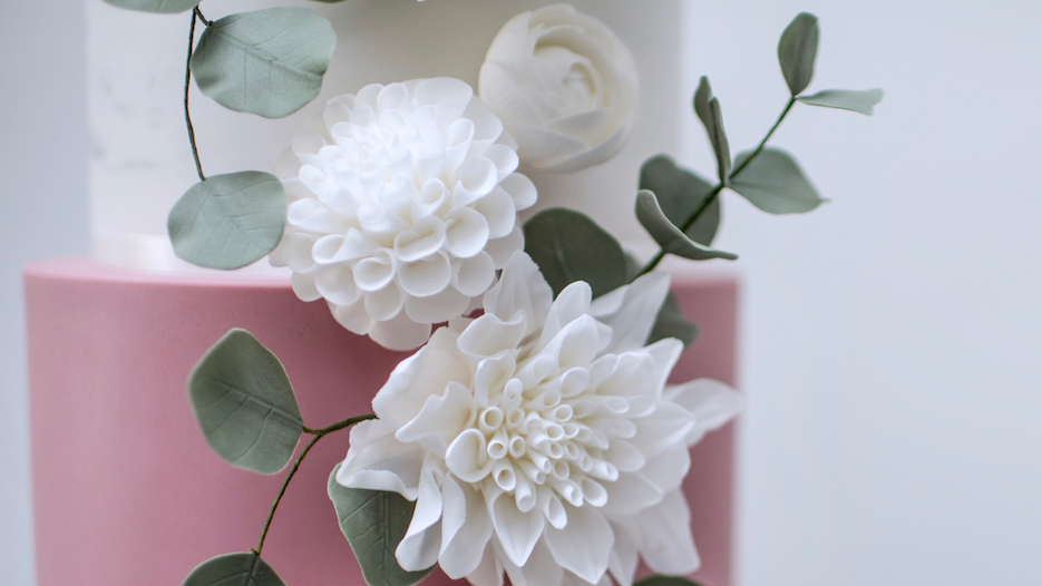 Marble and White Dahlias - Light wispy marble, contrasting dusky pink, grey and copper tones with a vertical cascade of dreamy white dahlias, ranunculus and peonies