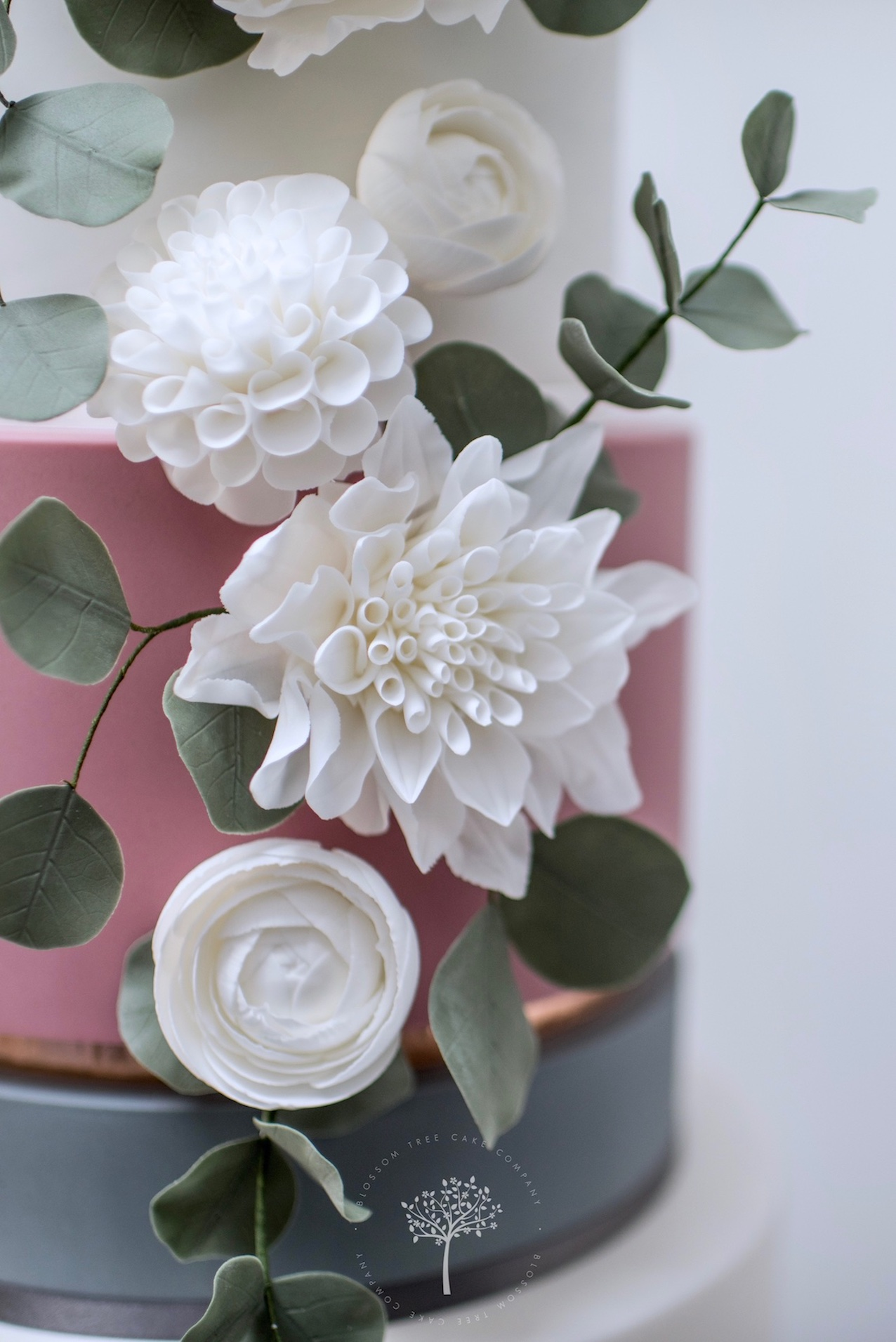 Marble & White Dahlias wedding cake by Blossom Tree Cake Company Harrogate North Yorkshire - sugar flowers.jpg