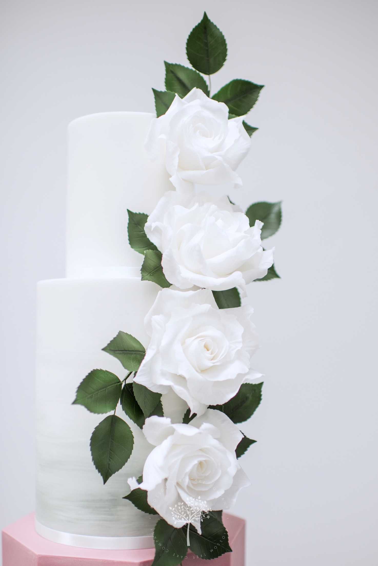 Watercolour Rose wedding cake by Blossom Tree Cake Company Harrogate North Yorkshire - top sugar roses.jpg