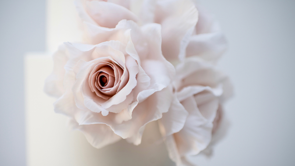 Origami Rose - Gorgeously dreamy dusky pink sugar roses, light copper splash detailing and a dusky pink origami tier for a striking centre-piece