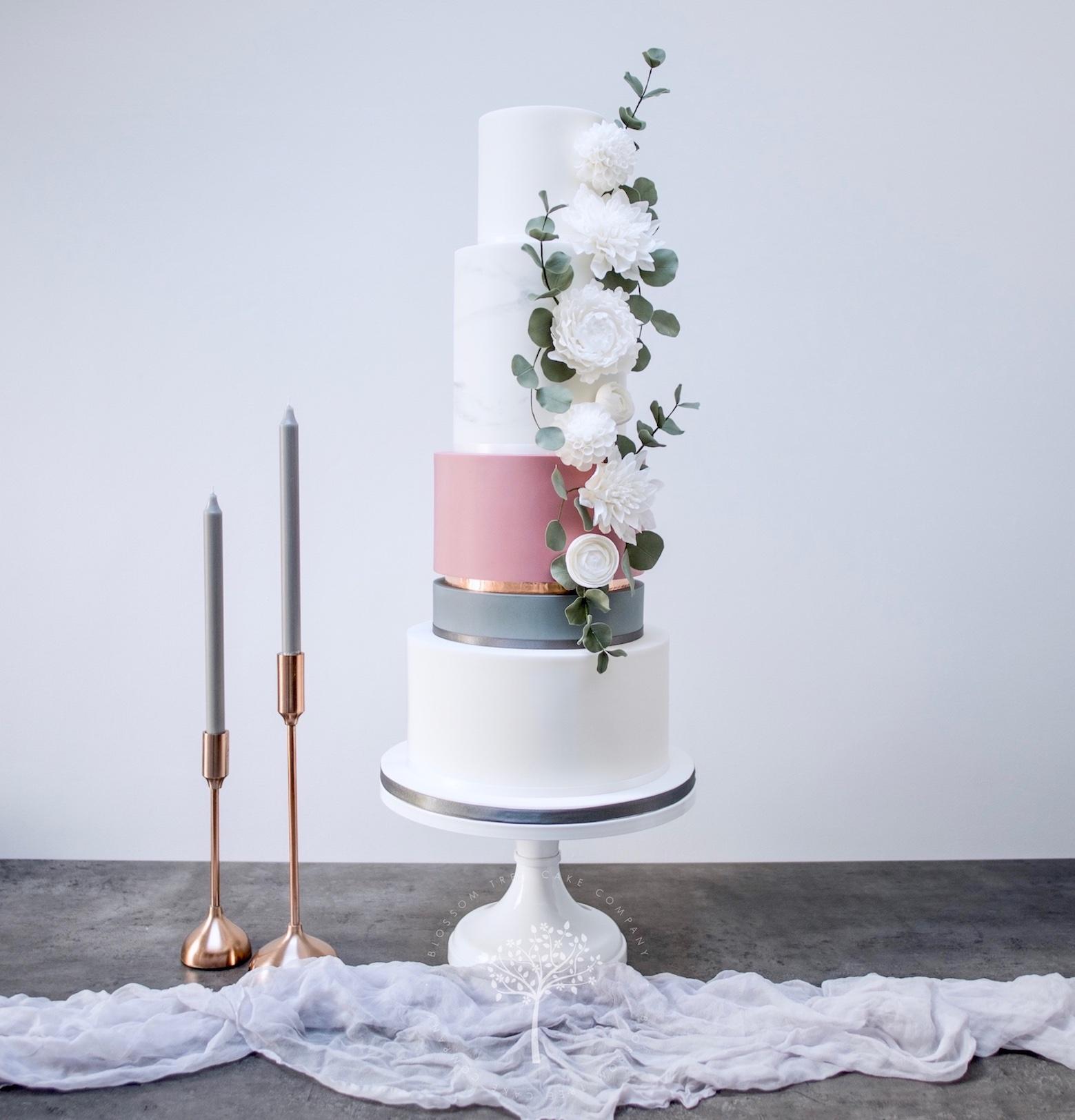 Marble & White Dahlias wedding cake by Blossom Tree Cake Company Harrogate North Yorkshire - square.jpg