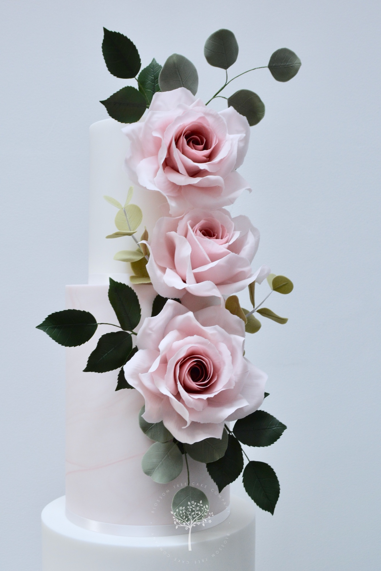 Garden Rose wedding cake by Blossom Tree Cake Company Harrogate North Yorkshire - top sugar roses.jpg