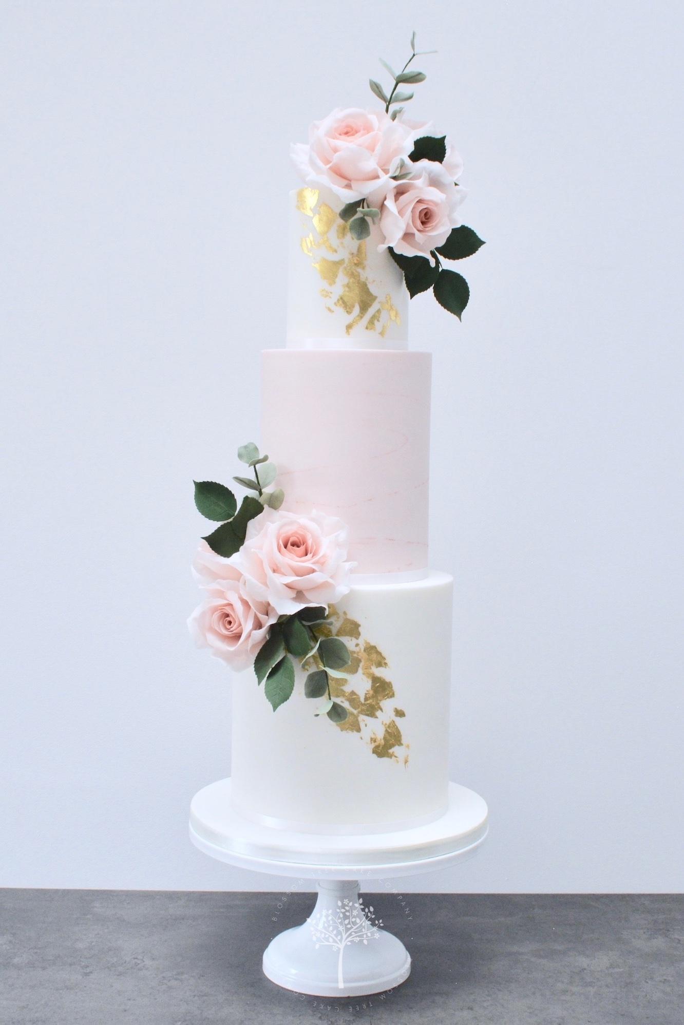 Dusky Pink & Gold wedding cake by Blossom Tree Cake Company Harrogate North Yorkshire.jpg