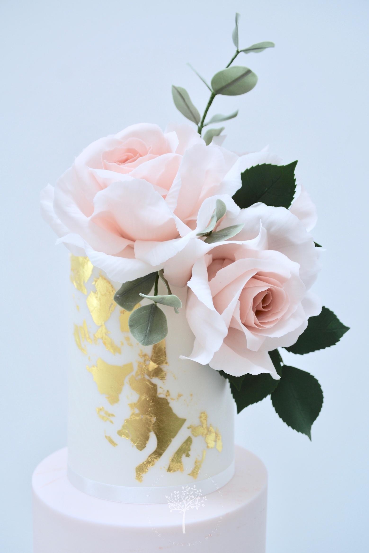 Dusky Pink & Gold wedding cake by Blossom Tree Cake Company Harrogate North Yorkshire - top sugar roses.jpg
