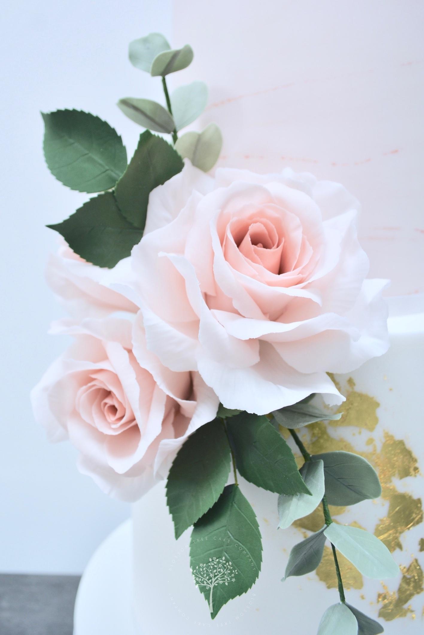 Dusky Pink & Gold wedding cake by Blossom Tree Cake Company Harrogate North Yorkshire - sugar roses.jpg