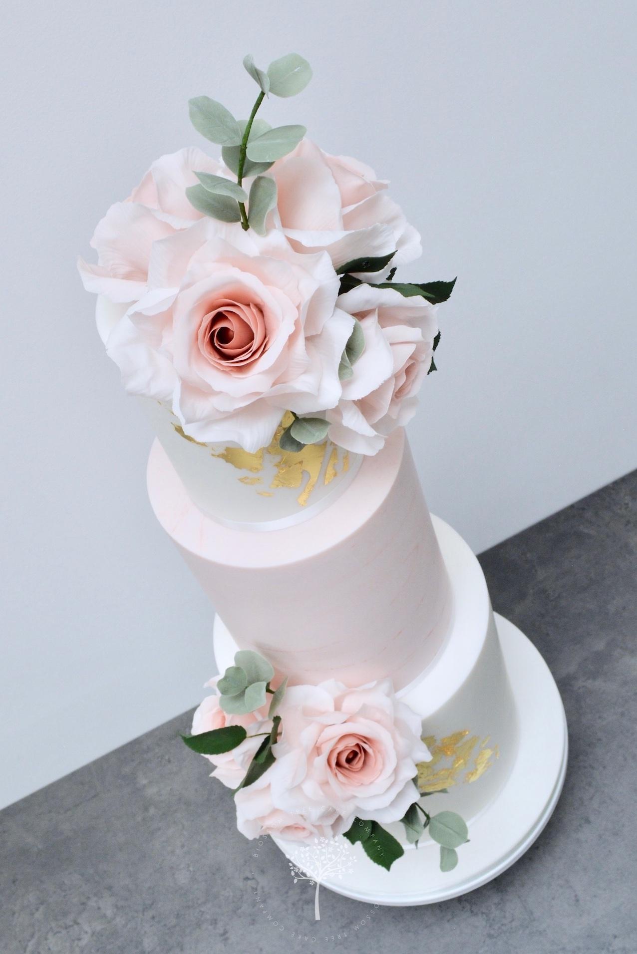 Dusky Pink & Gold wedding cake by Blossom Tree Cake Company Harrogate North Yorkshire - angle.jpg
