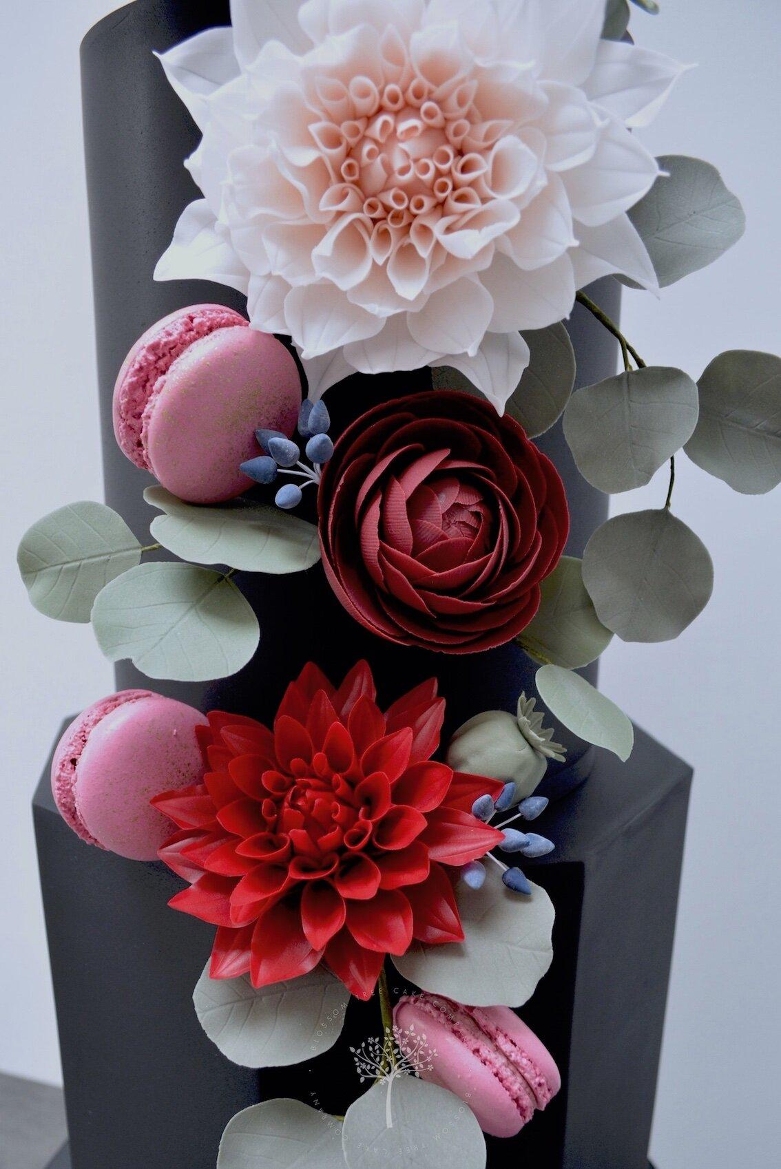 Autumn Blooms wedding cake by Blossom Tree Cake Company Harrogate North Yorkshire - suagr dahlias.jpg