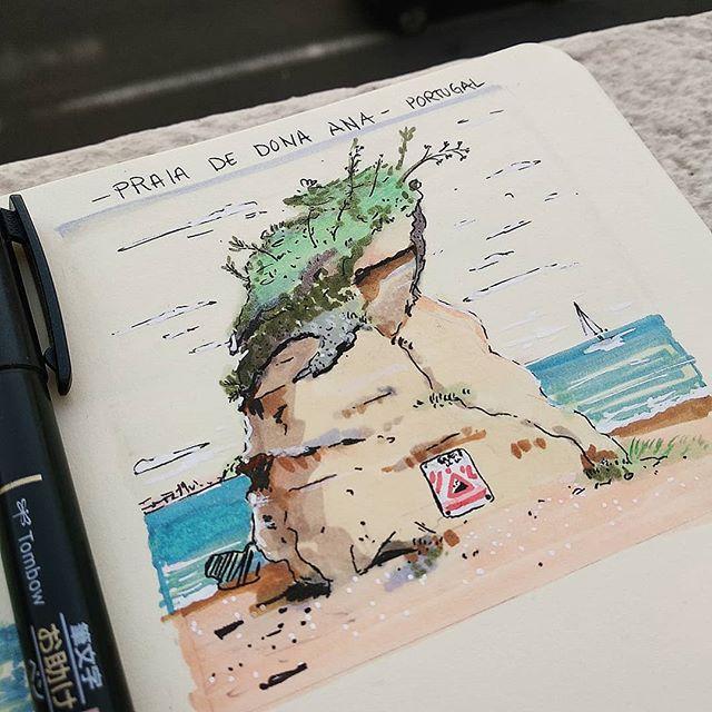 Praia Dona Ana/ Algarve Portugués  #drawing #doodle #ilustracion  #sketchbook #sketch #beach  #portugal #praia #praiadonaana #paradise #sea #ink #picoftheday #art #algarve #artistoninstagram #doodle #nature #instacool #insta #instaartist #inking #boceto  #janadominguez #jana_dominguez