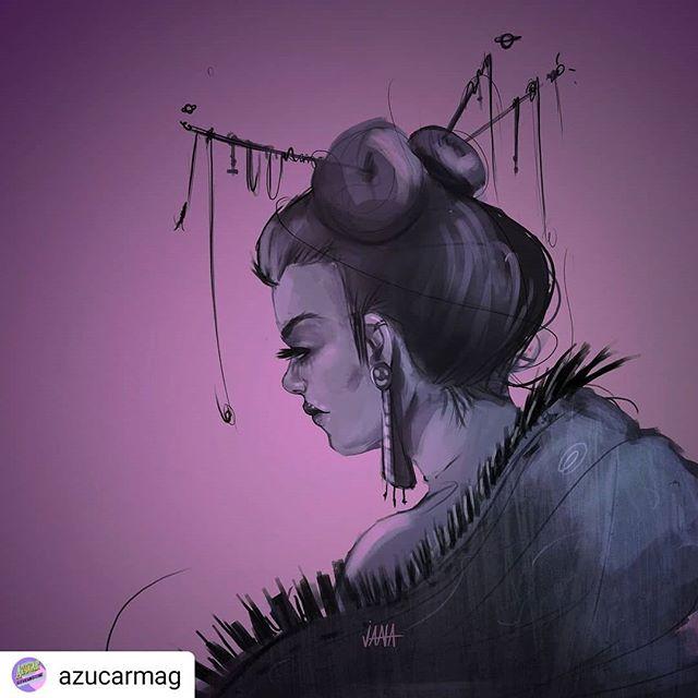 Gracias @azucarmag por compartir a nuevos artistas :) #Repost @azucarmag • • • • • Artwork by@jana_dominguez #illustration #digitalart #art #geisha #characterdesign #scifiart