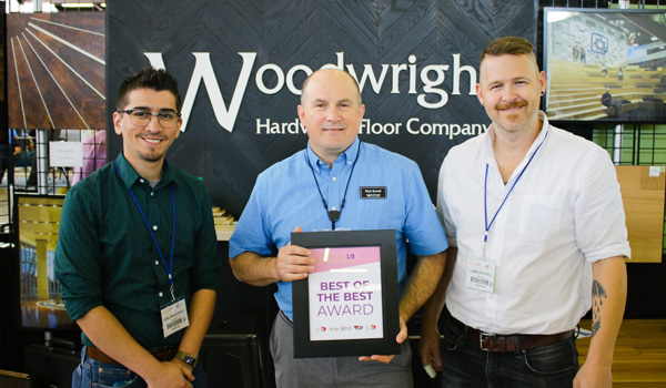 Woodwright Hardwood Floor Company won the Best of the Best Award in the 2019 Pegasus Exhibitor Awards.