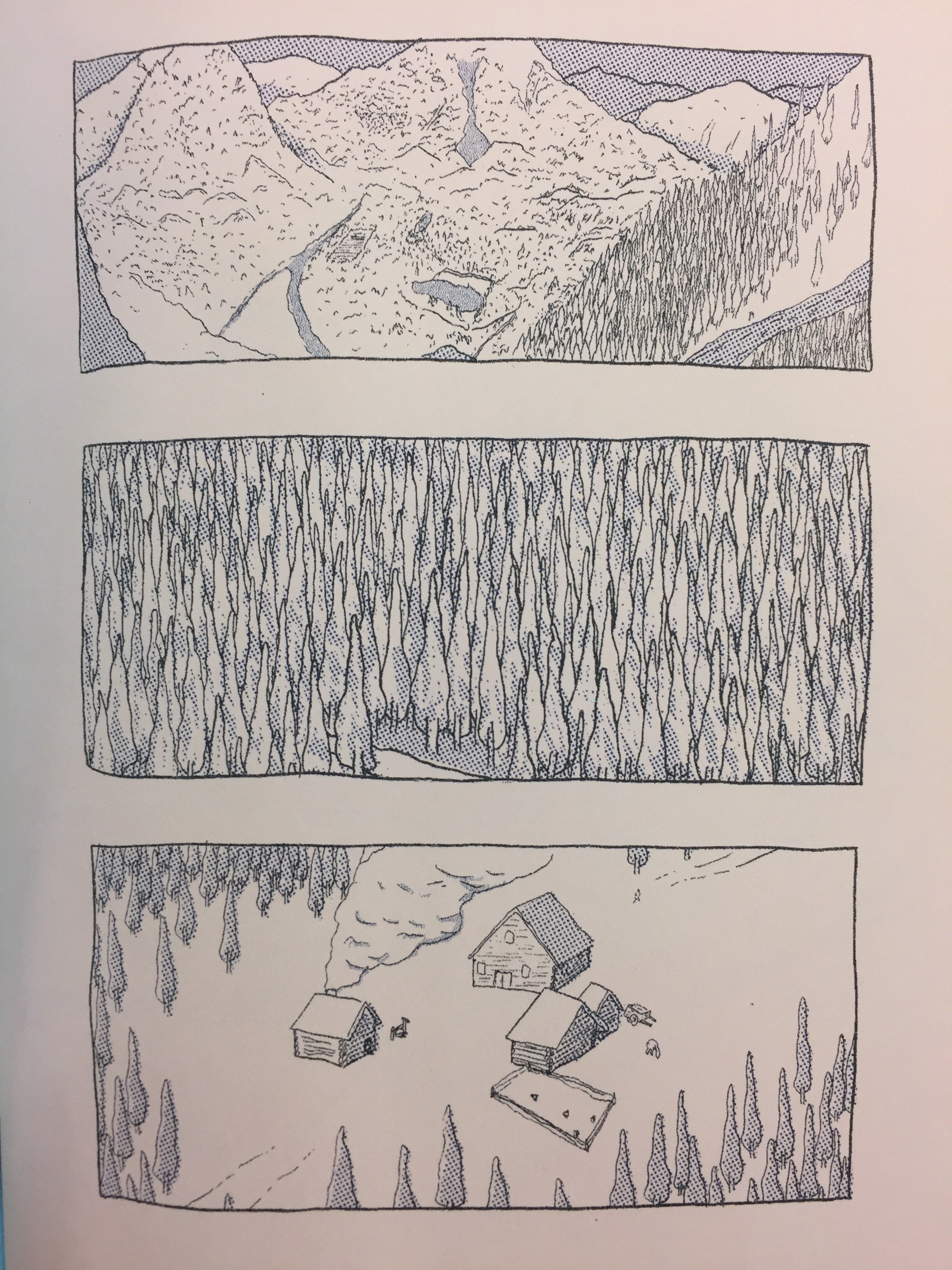 """Page from Free Fantasy #2, 2017, 2 color risograph, 5""""x7""""   buy here"""