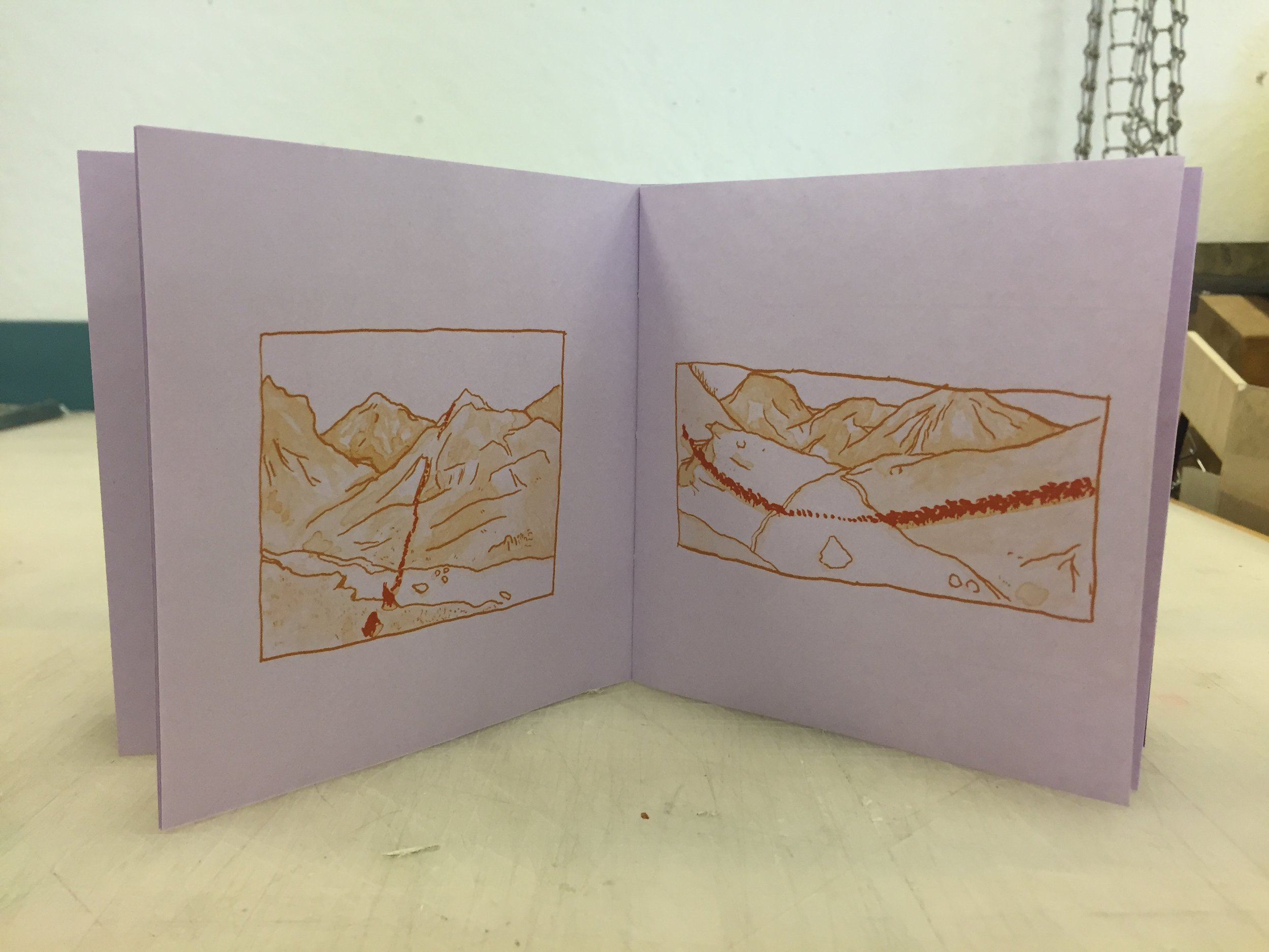 """Migratory Patterns detail shot, 2018, 2 color offset with risograph and laser cut cover, 5""""x5""""   buy here"""