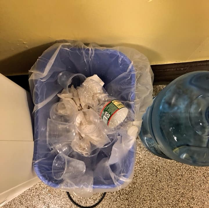 Plastic trash at McNair High School Water Cooler.