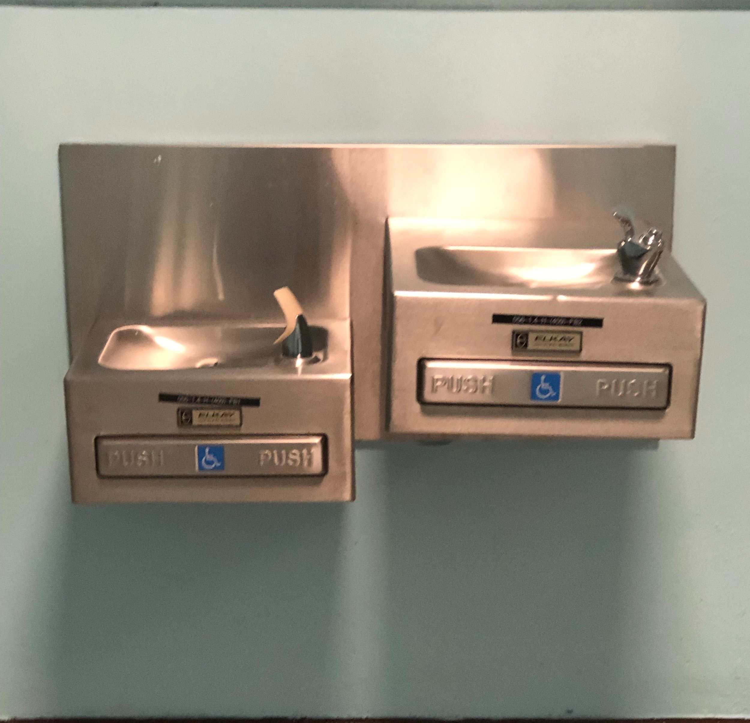 Elkay water fountains at McNair high school that have been turned off indefinitely until the water becomes potable again.