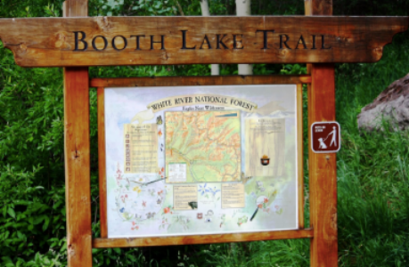 booth lake trailhead sign vale colorado