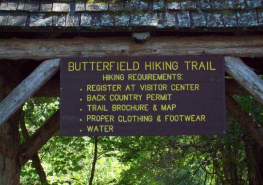 Butterfield hiking trail Devils den sign