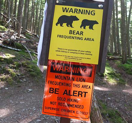 Warning signs Glacier National Park