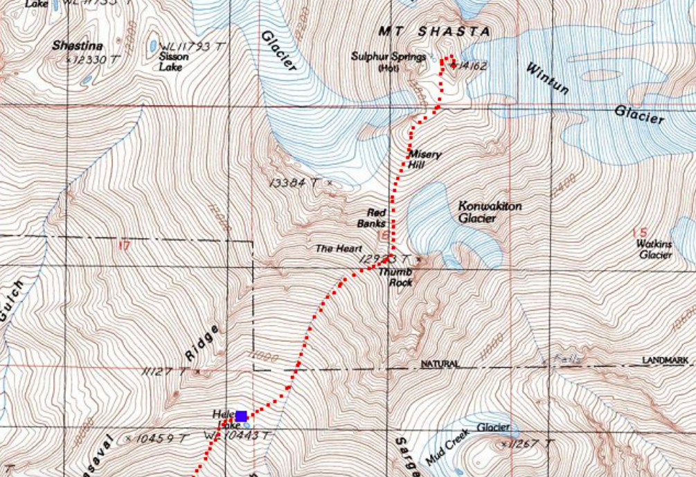 Helen Lake to Mount Shasta trail