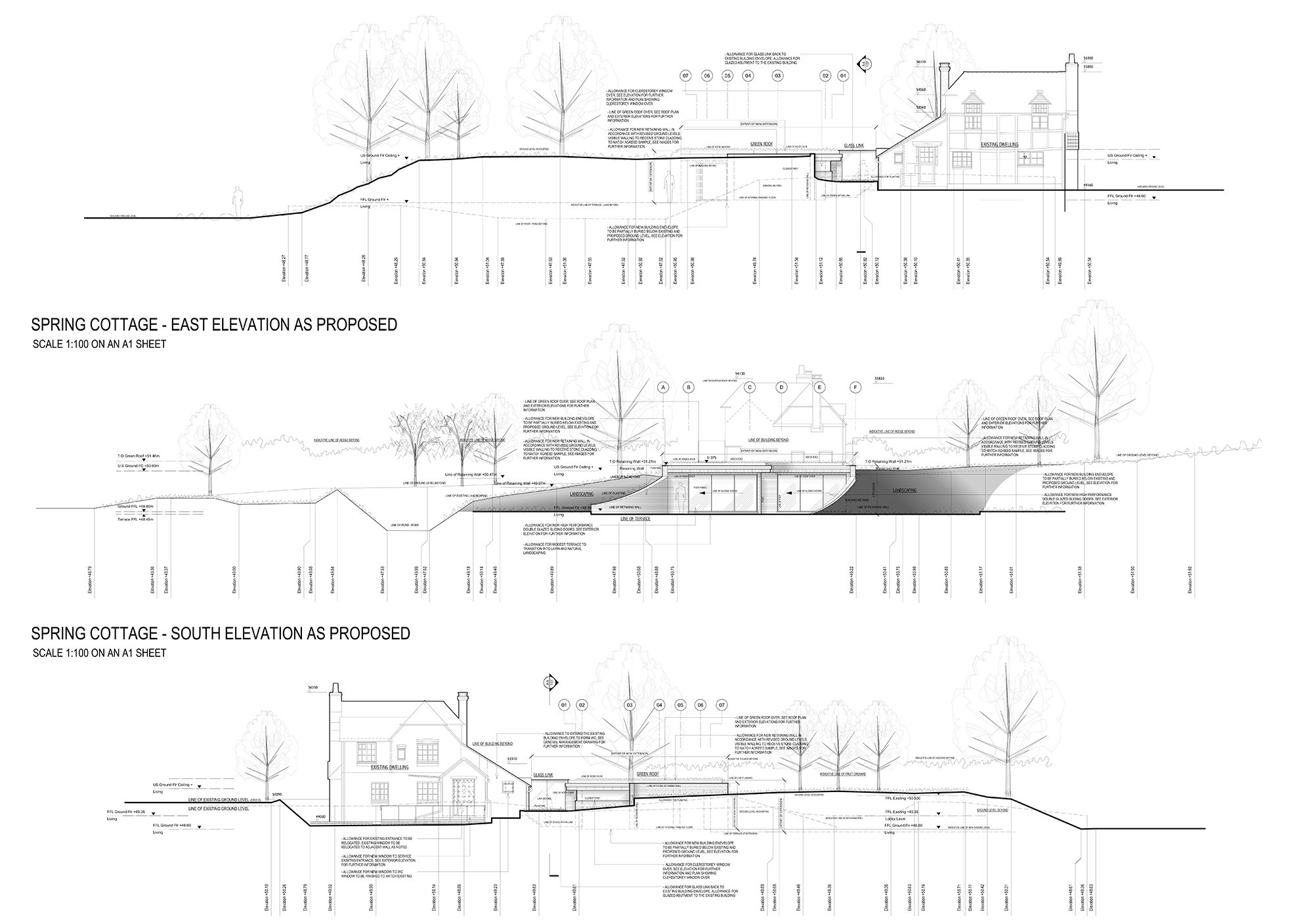 A1.06 - Exterior Elevations As Proposed (Retaining Wall Levels).jpg