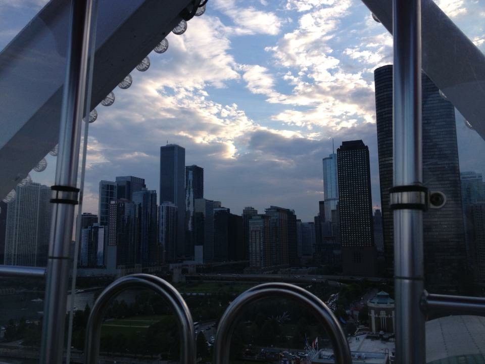 Chicago skyline from the Ferris Wheel at Navy Pier.