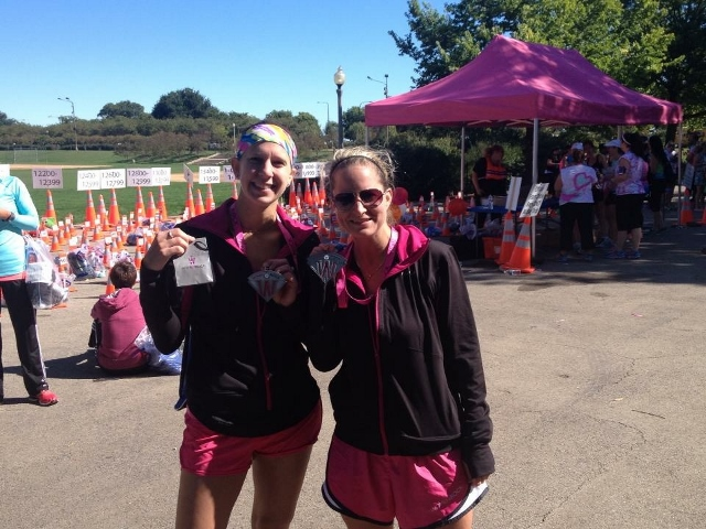 Carrie and I at the finish with our race day swag!