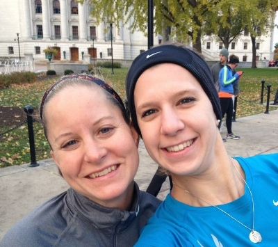 Carrie and I at the capital before the race... we were so cold! Good thing we live in the north!