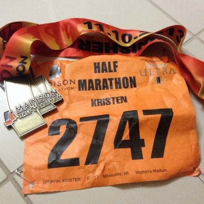 Medal and bib after the race.