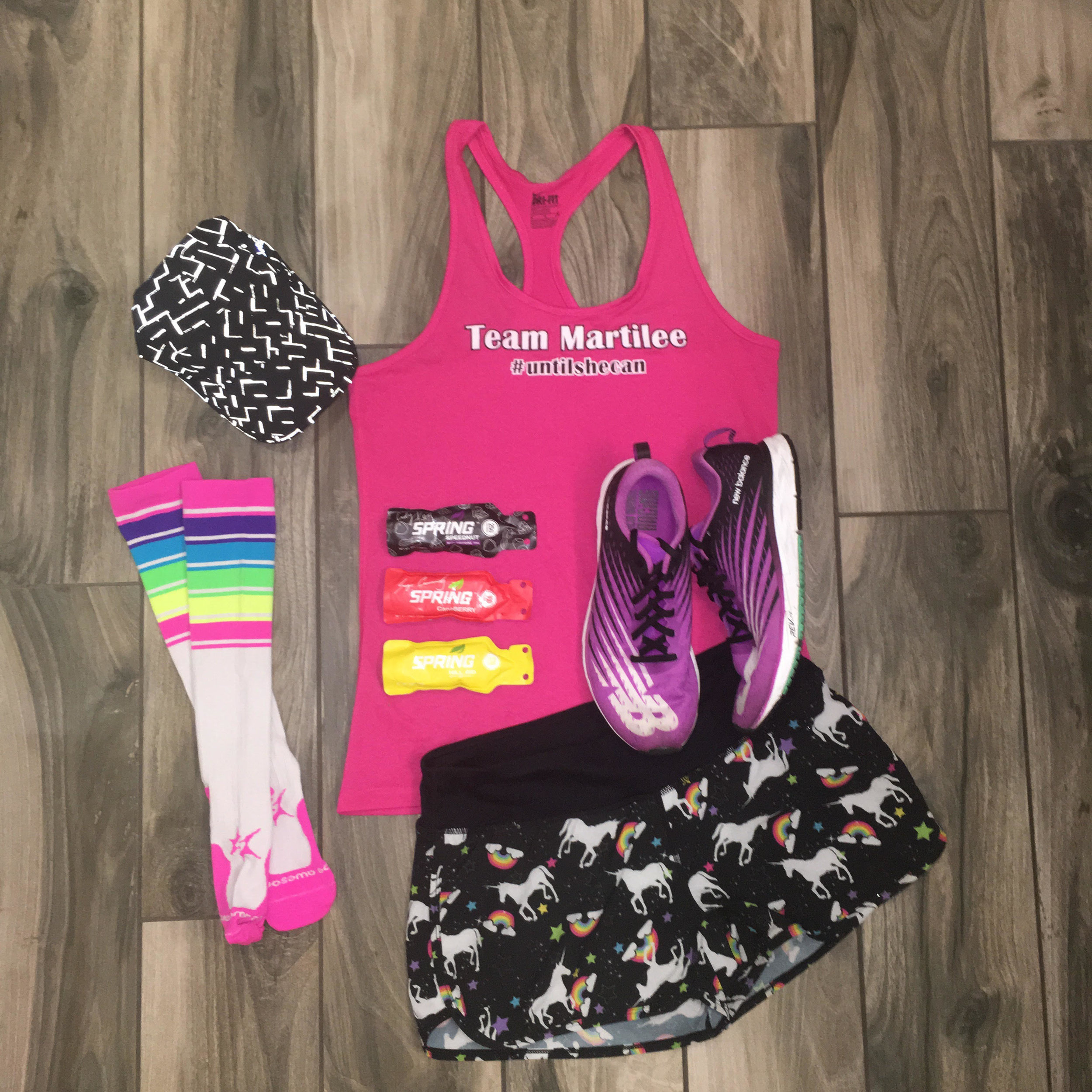 Race ready! I'll be sporting my #TeamMartilee tank, Sparkle Athletic Unicorn Shorts, Procompression socks, Spring Energy Gels, Brooks running hat and New Balance 1500s. Let's go!