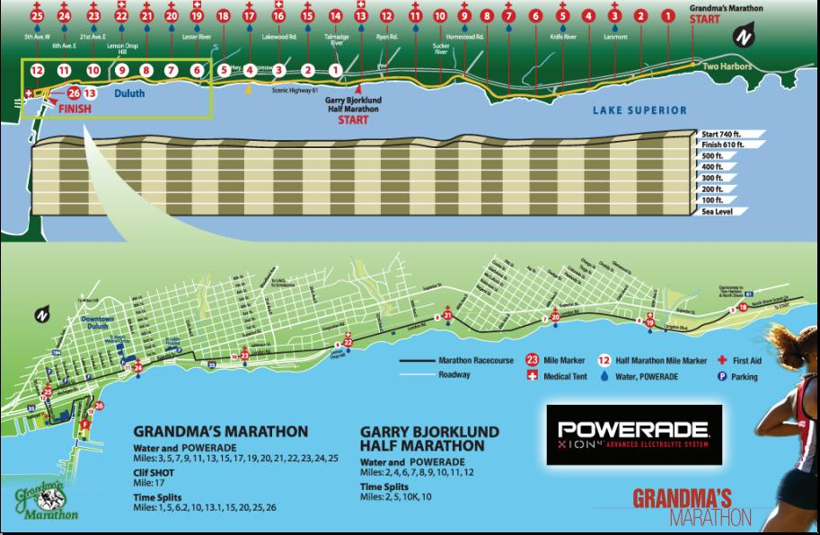 Race Map provided by Grandma's Marathon website.