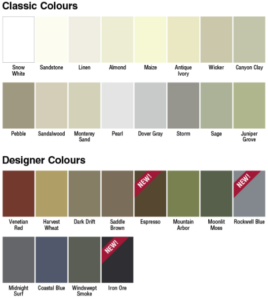 Colour palette for Gentek's Sequoia Select vinyl siding