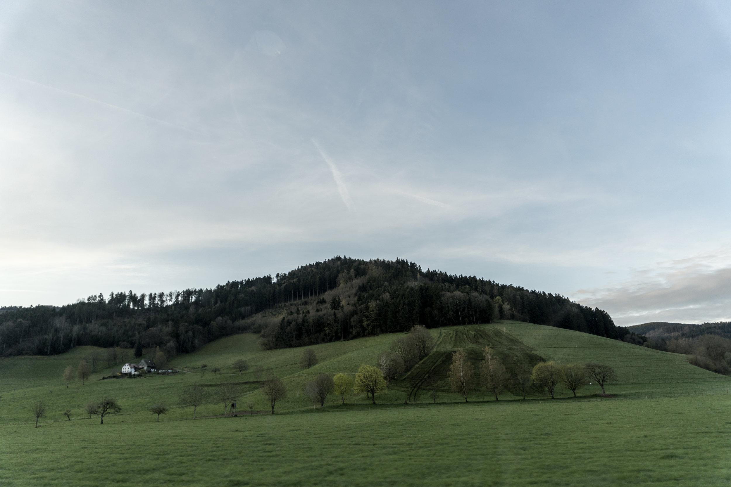 Collines douces, prés et vergers, soulignés de sapins sombres, sentinelles postées en avant-garde aux marches de la Forêt Noire.