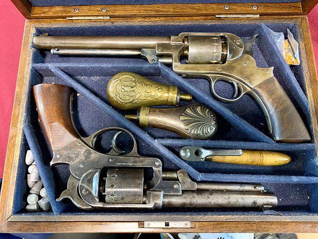 Cased set of Civil War Starr army revolvers 1 single action 1 double action #civilwarguns #starrrevolvers #antiqueguns