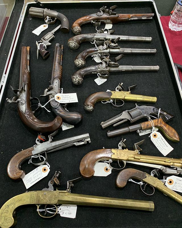 Some of our best at the Chattanooga civil war show today and tomorrow #antiqueguns #mancave#queenannepistols #flintlock