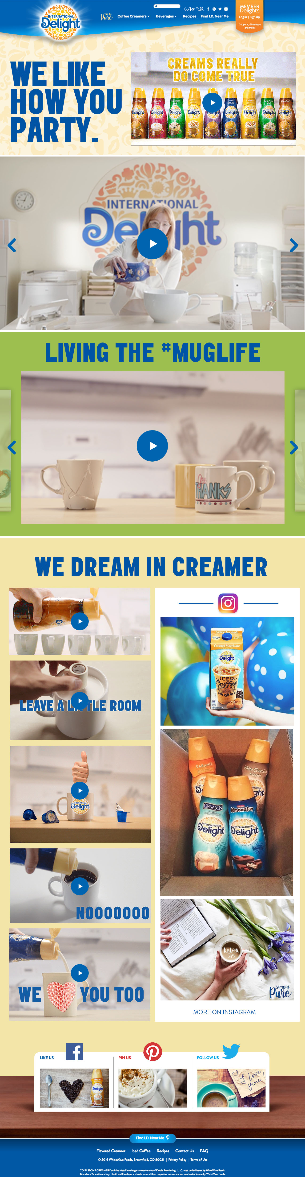 International Delight Creamer Landing Page