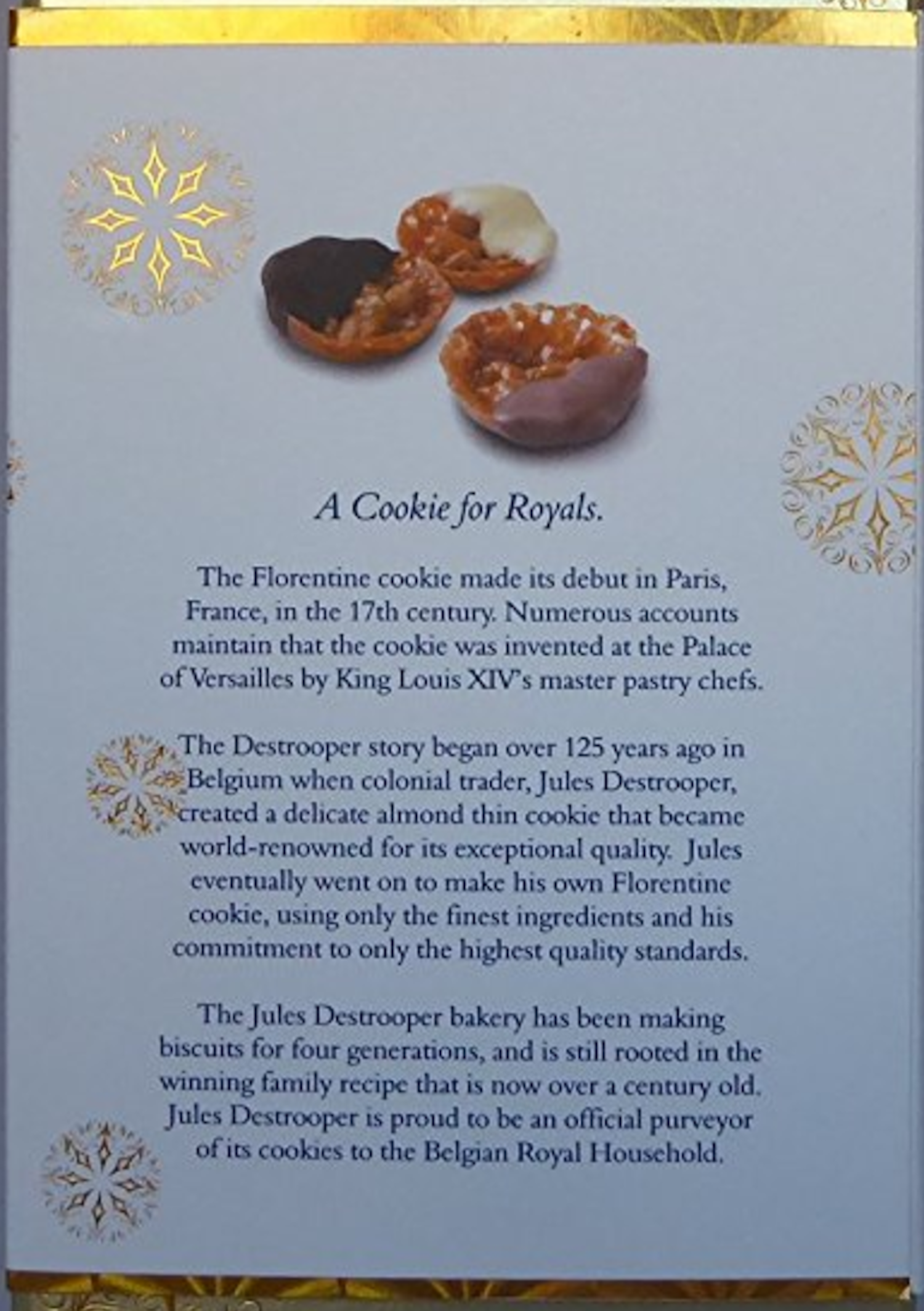 Packaging copy for Jules Destrooper Florentines
