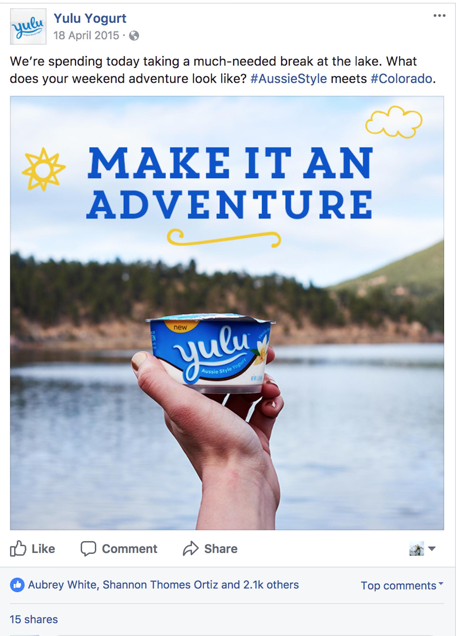 Social media post for Yulu yogurt