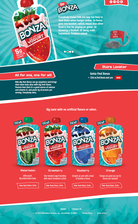 Web copy for Bonza yogurt
